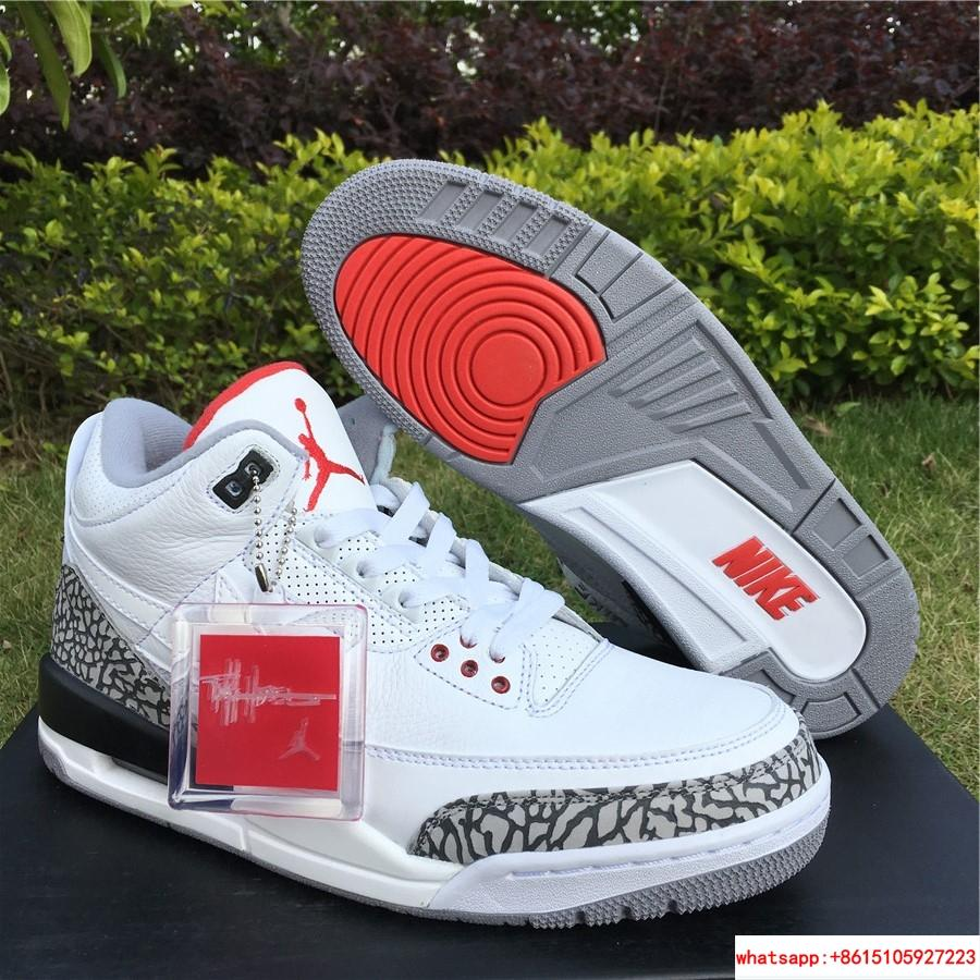 Air Jordan 3 Retro JTH NRG  White Cement Fire Red Super Bowl jordan shoes 6
