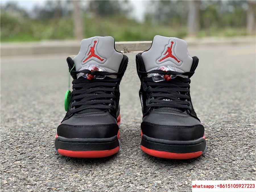 Nike Air Jordan 5 Retro V AJ5 Satin Bred Black Red Men Shoes Sneakers 136027 006 2