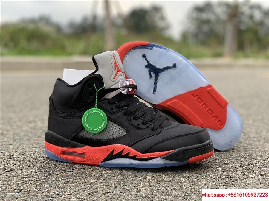 Nike Air Jordan 5 Retro V AJ5 Satin Bred Black Red Men Shoes Sneakers 136027 006 1