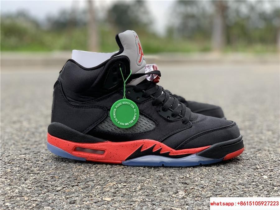 Nike Air Jordan 5 Retro V AJ5 Satin Bred Black Red Men Shoes Sneakers 136027 006 10