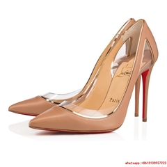 Christian Louboutin cosmo 554 100 nude leather women shoes cl high heel shoes