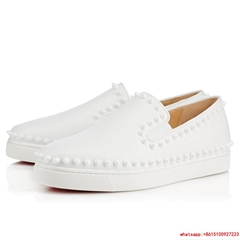 Christian Louboutin Pik Boat women white leather shoes cl women shoes cl casual