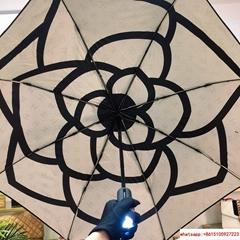 Newest CC logo umbrella camellia flower with led light full automatic uv