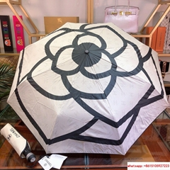CC logo umbrella camellia flower with led light full automatic umbrella