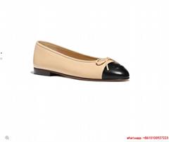 cc logo lambskin beige black ballerinas G02819 X01000 C0204