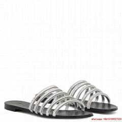 giuseppe zanotti Michela  silver laminated leather  applied rhinestone chain gz