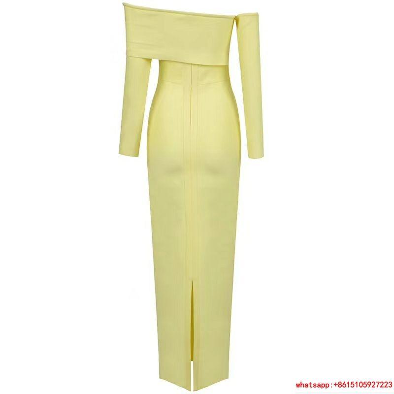 herve leger sexy long dress hl dress neon yellow  2