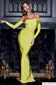 herve leger sexy long dress hl dress neon yellow  1