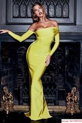 herve leger sexy long dress hl dress neon yellow