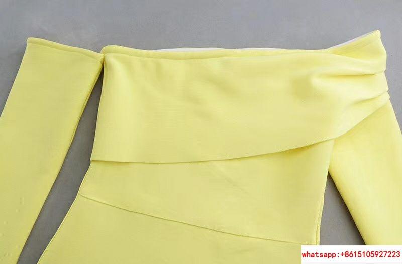 herve leger sexy long dress hl dress neon yellow  3