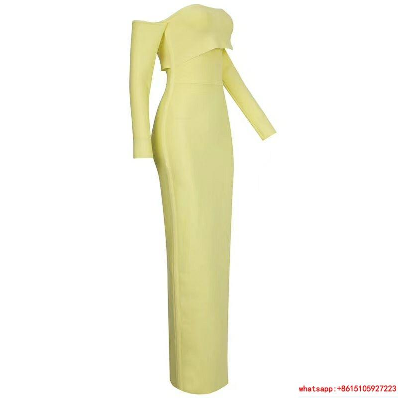 herve leger sexy long dress hl dress neon yellow  4