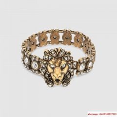 Gucci women Lion head bracelet with crystals gucci braclet