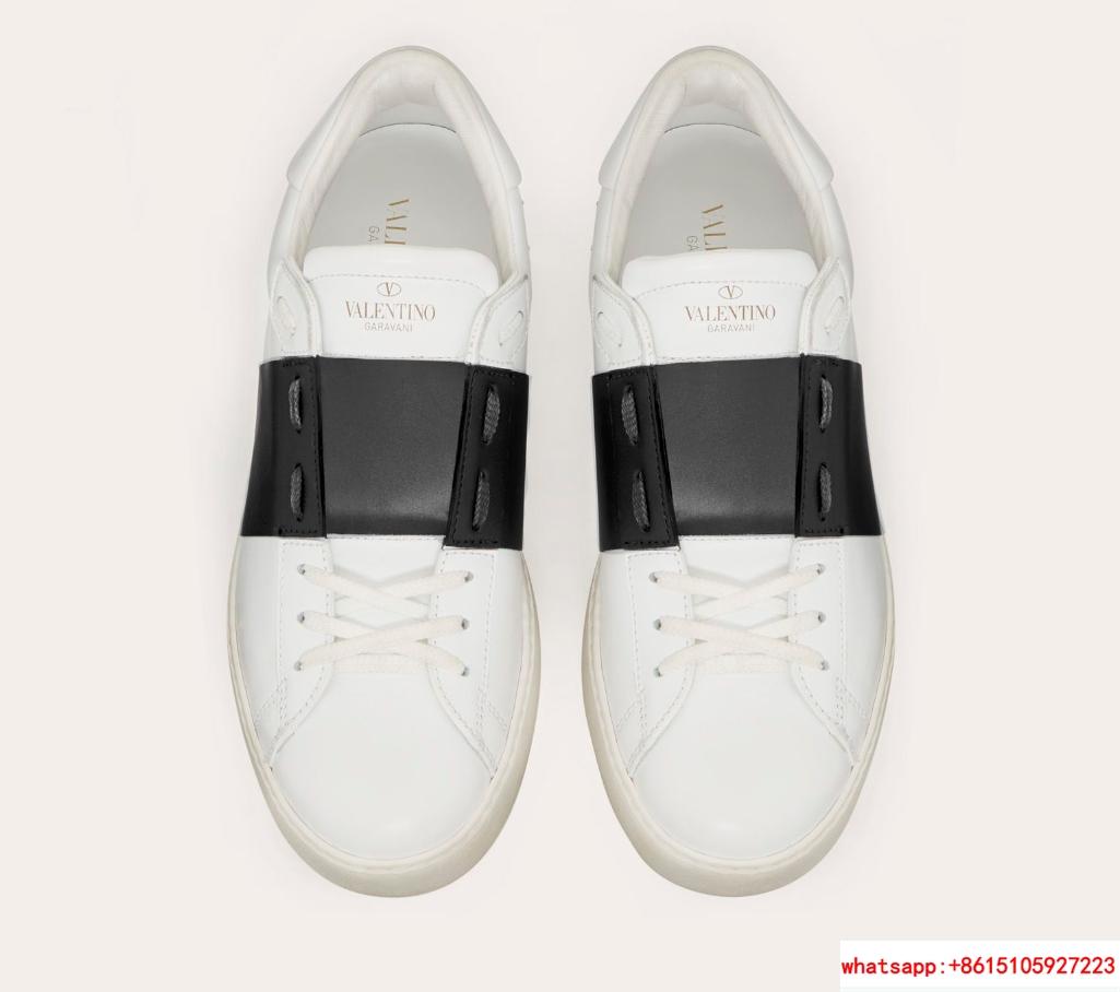 valentino calskin open sneaker white black valentino sneaker valentino shoes  4