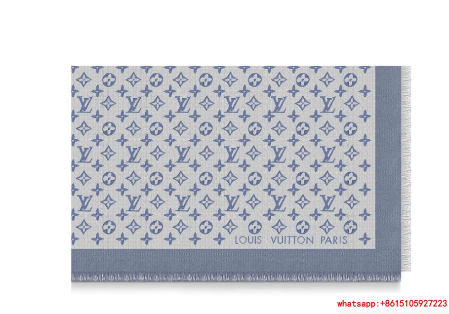 monogram denim shawl  Bleu Clair    shawl M71382  6