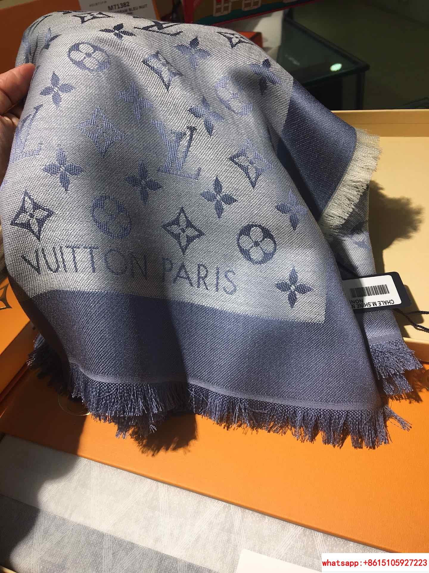 monogram denim shawl  Bleu Clair    shawl M71382  8
