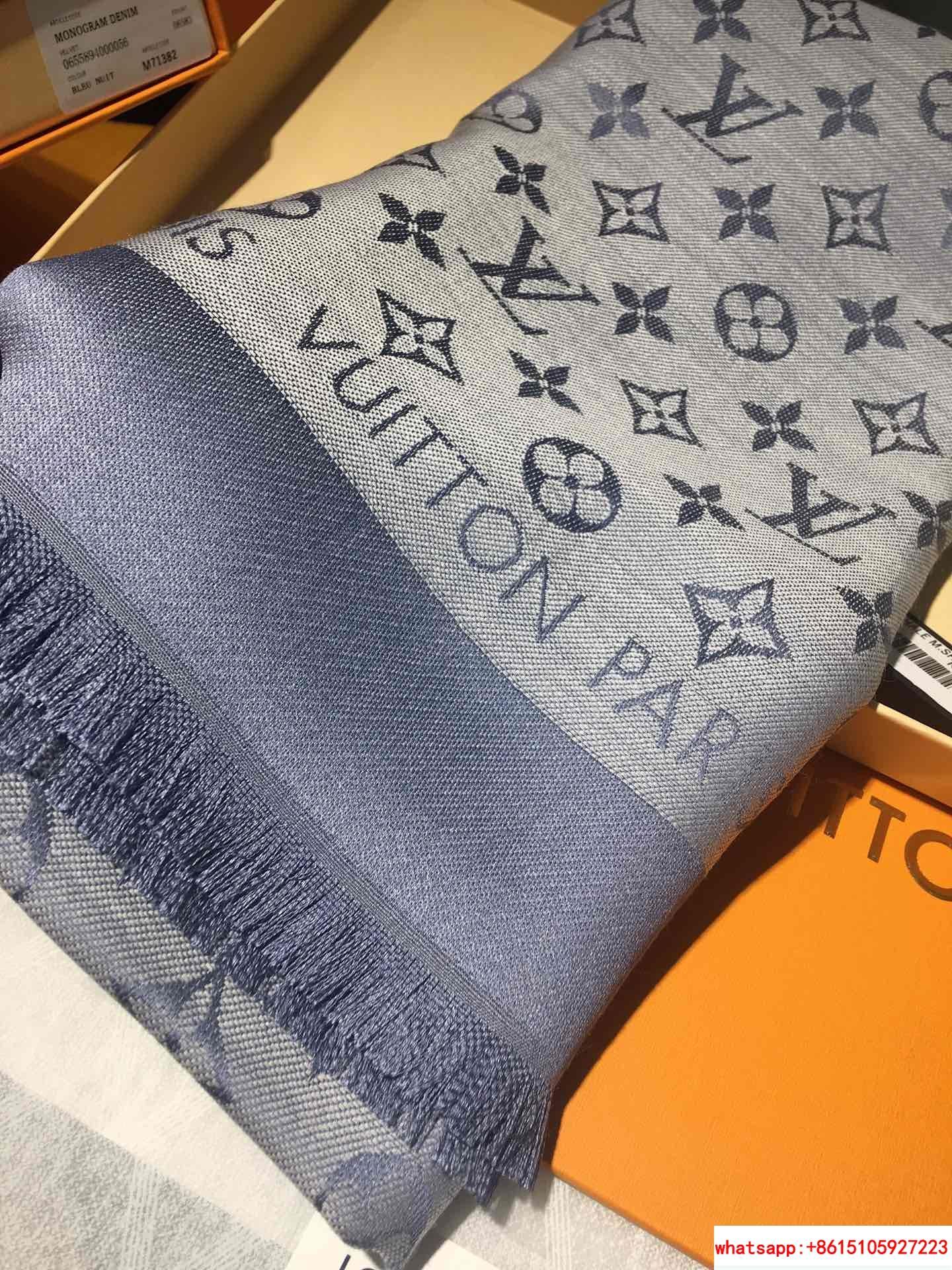 monogram denim shawl  Bleu Clair    shawl M71382  10
