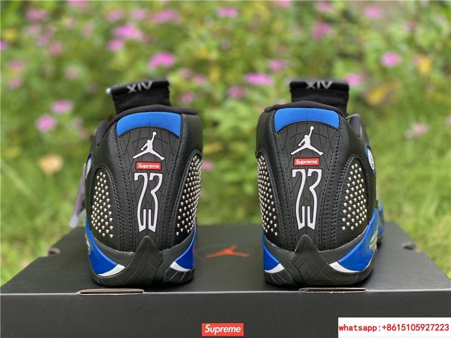 New Air Jordan Retro 14 Supreme Black Blue Men's Basketball BV7630-004 3