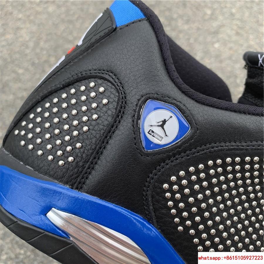 New Air Jordan Retro 14 Supreme Black Blue Men's Basketball BV7630-004 10