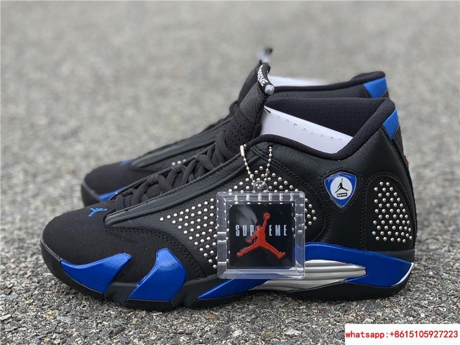 New Air Jordan Retro 14 Supreme Black Blue Men's Basketball BV7630-004 1