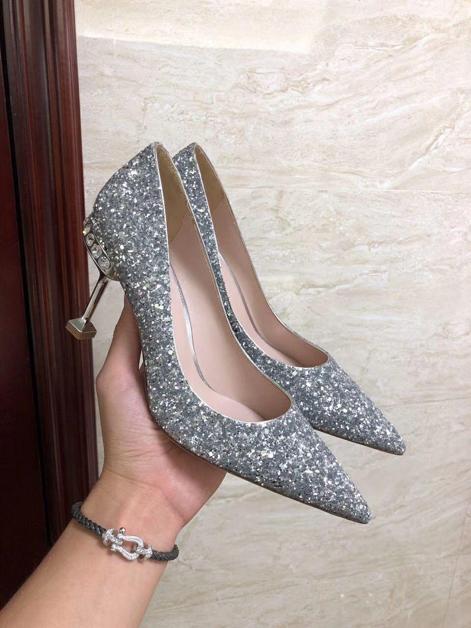 MIU MIU GLITTER FABRIC PUMPS 85 mm heel with crystals SI  ER  3