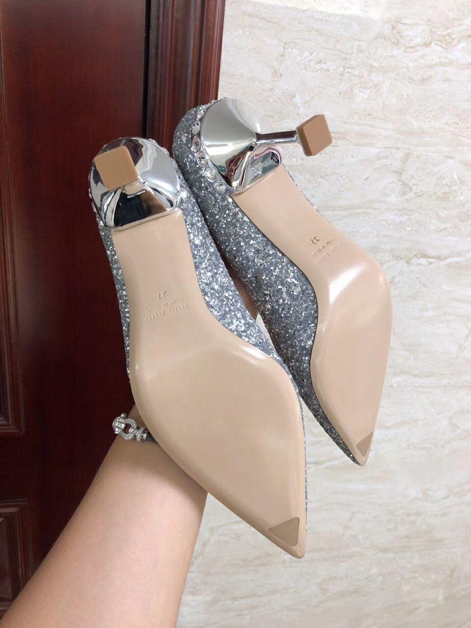 MIU MIU GLITTER FABRIC PUMPS 85 mm heel with crystals SI  ER  4
