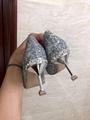 MIU MIU GLITTER FABRIC PUMPS 85 mm heel with crystals SI  ER  5