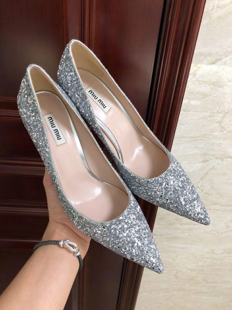 MIU MIU GLITTER FABRIC PUMPS 85 mm heel with crystals SI  ER  7