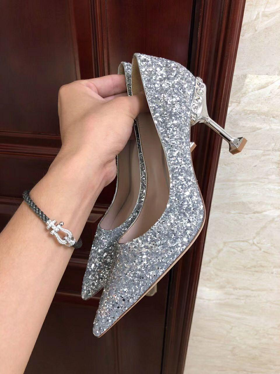 MIU MIU GLITTER FABRIC PUMPS 85 mm heel with crystals SI  ER  8