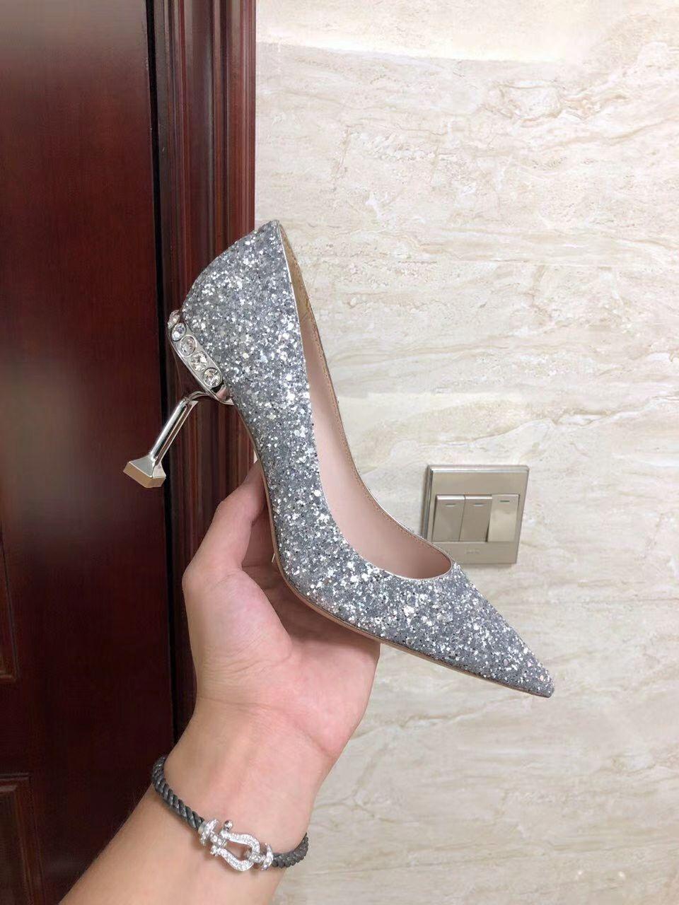 MIU MIU GLITTER FABRIC PUMPS 85 mm heel with crystals SI  ER  1