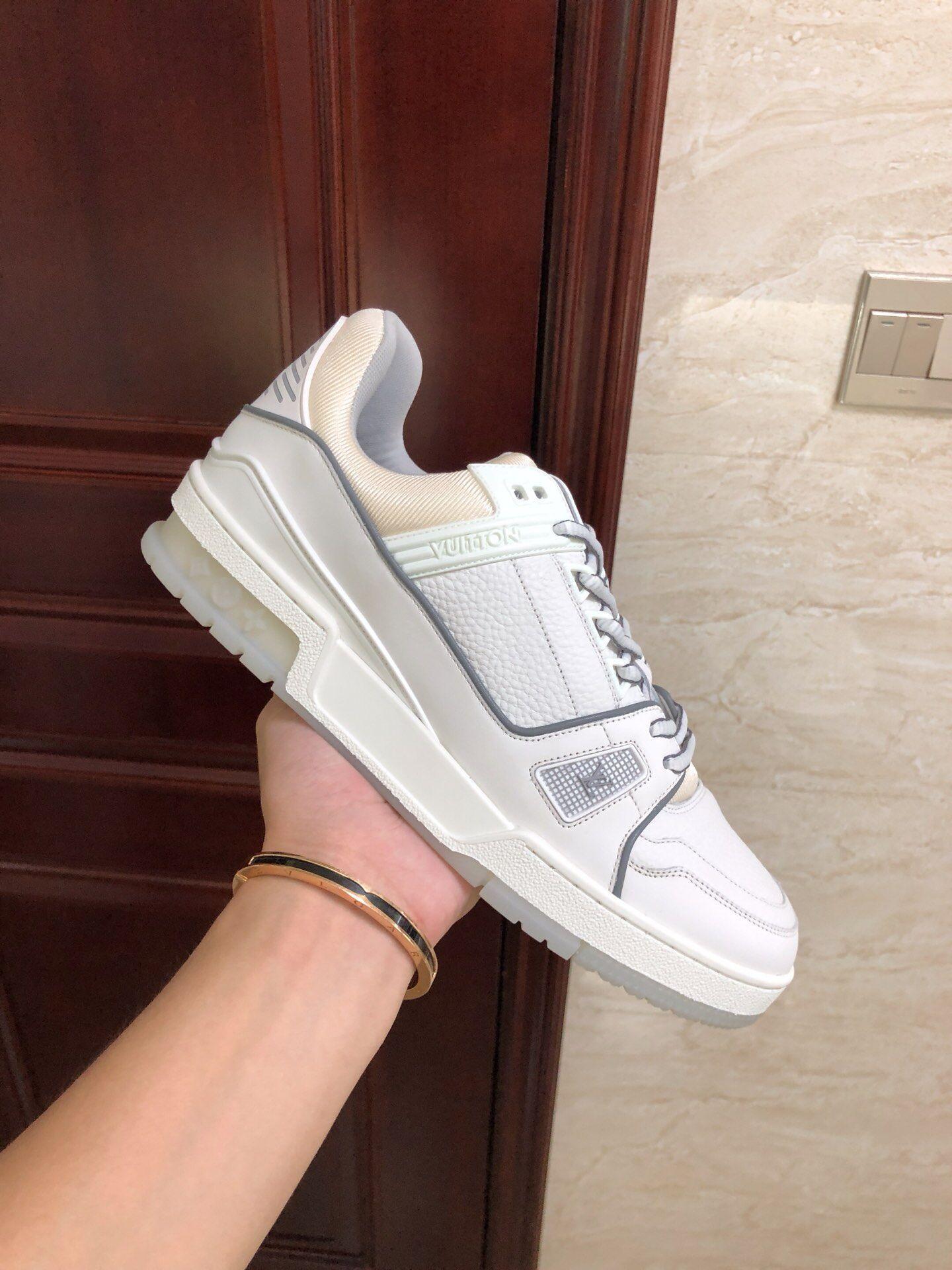 lv trainer sneaker Grained calf leather white lv sneaker 1A5PZO lv sneaker lv  1
