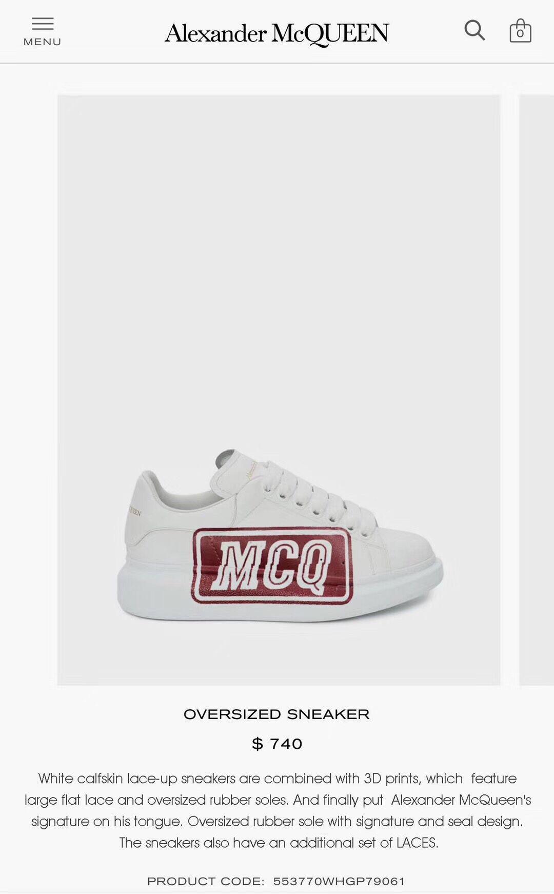 alexander mcqueen oversized sneaker white calfskin mcqueen sneaker  9