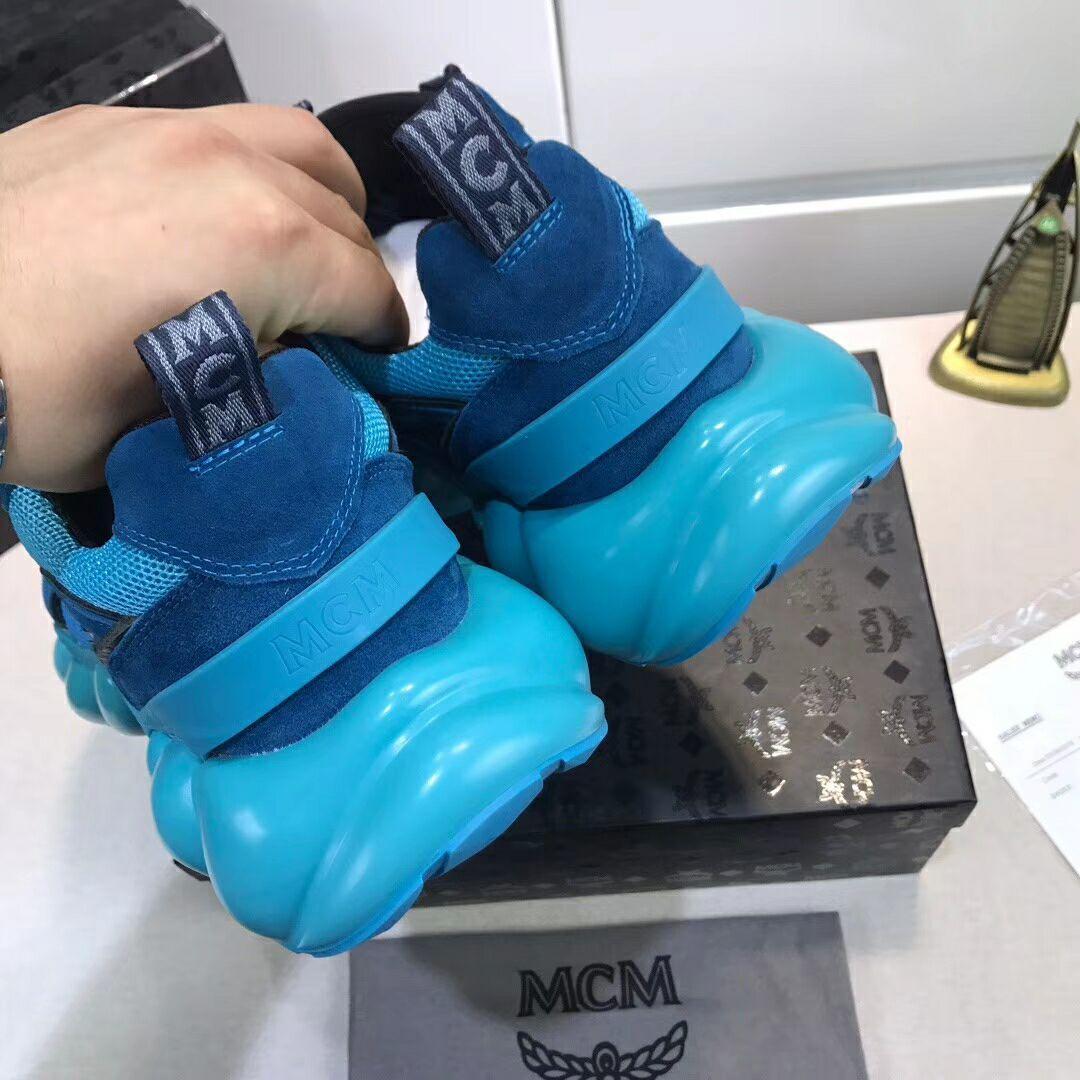 MCM Men's Himmel Low Top Sneakers in Suede blue  2