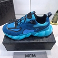MCM Men's Himmel Low Top Sneakers in Suede blue  4