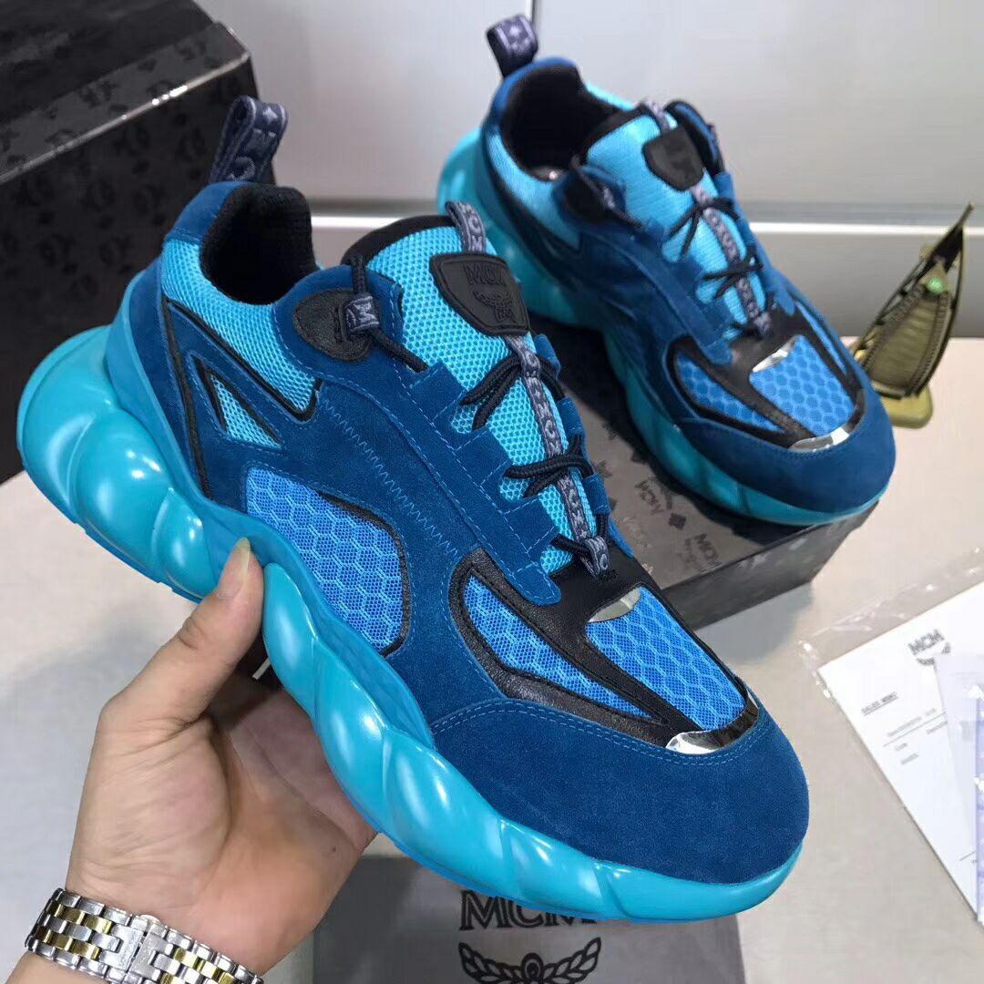 MCM Men's Himmel Low Top Sneakers in Suede blue  1