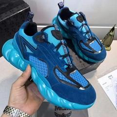 MCM Men's Himmel Low Top Sneakers in Suede blue