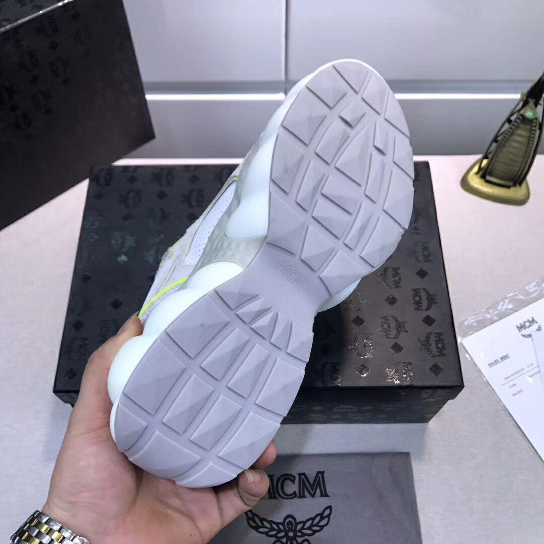 MCM Men's Himmel Low Top Sneakers in Suede white  3