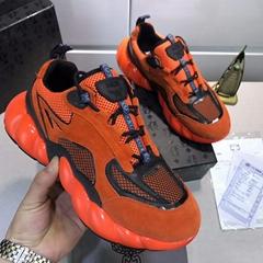 MCM Men's Himmel Low Top Sneakers in Suede Variations #F24727 Vibrant Orange