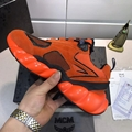 MCM Men's Himmel Low Top Sneakers in Suede Variations	 #F24727 Vibrant Orange 7