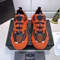 MCM Men's Himmel Low Top Sneakers in Suede Variations	 #F24727 Vibrant Orange 8
