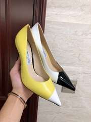 jimmy choo .love 100 LOVE 100 Black, White and Fluorescent Yellow Point-Toe Pump