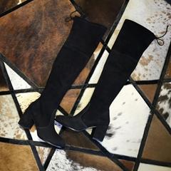 Stuart Weitzman THE TIELAND BOOT STRETCH SUEDE BLACK 7cm