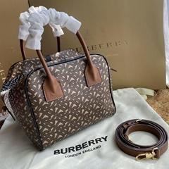 Newest burberry Small Monogram Stripe E-canvas Cube Bag 80193561