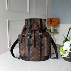 lv christopher pm monogram Macassar Canvas M43735men  lv backpack