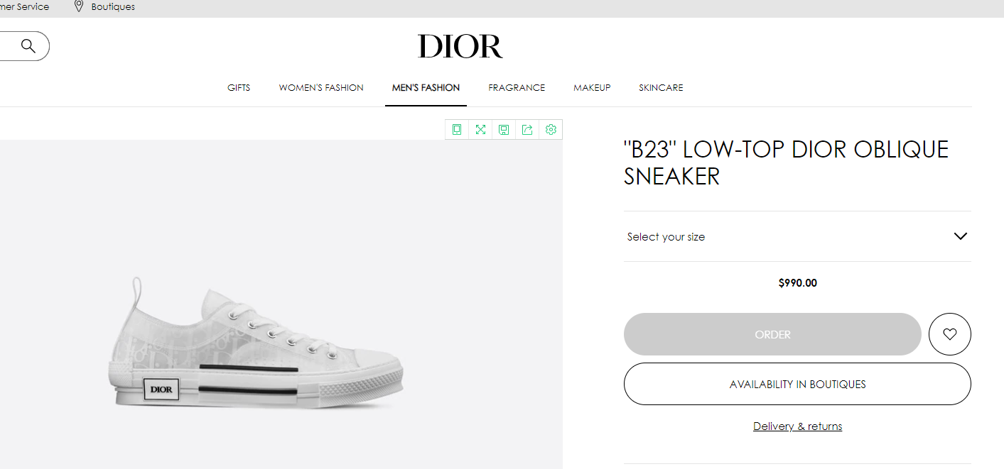 """B23"" LOW-TOP DIOR OBLIQUE SNEAKER DIOR MEN SNEAKER DIOR SHOES  1"