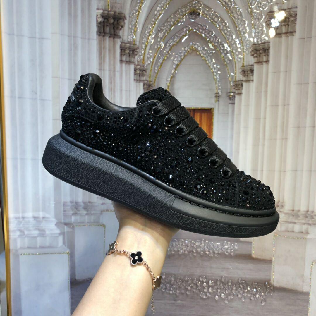 mcqueen oversized sneaker Black crystal rhinestone  mcqueen sneaker 6