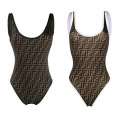 tobacco brown one-piece FF logo swimsuit Swimwear Bikinis       bikini