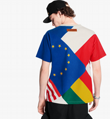lv flags patchwork printed tee tshirt lv tshirt newest 1A5PCG