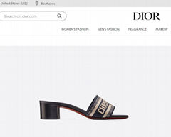 Dior dway heeled slide blue cotton embroidery Dior slide