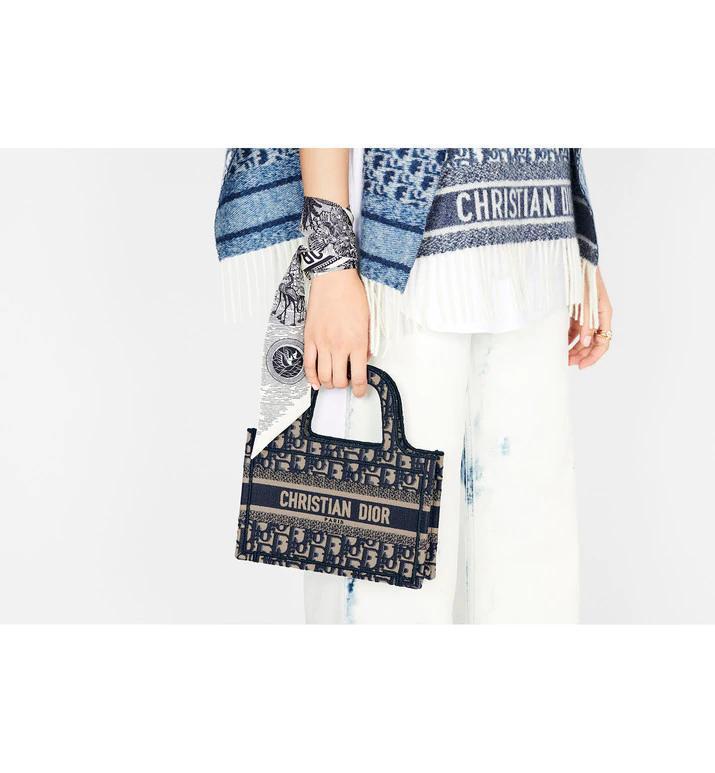 MINI      BOOK TOTE Blue      Oblique Embroidery      mini tote bags  12
