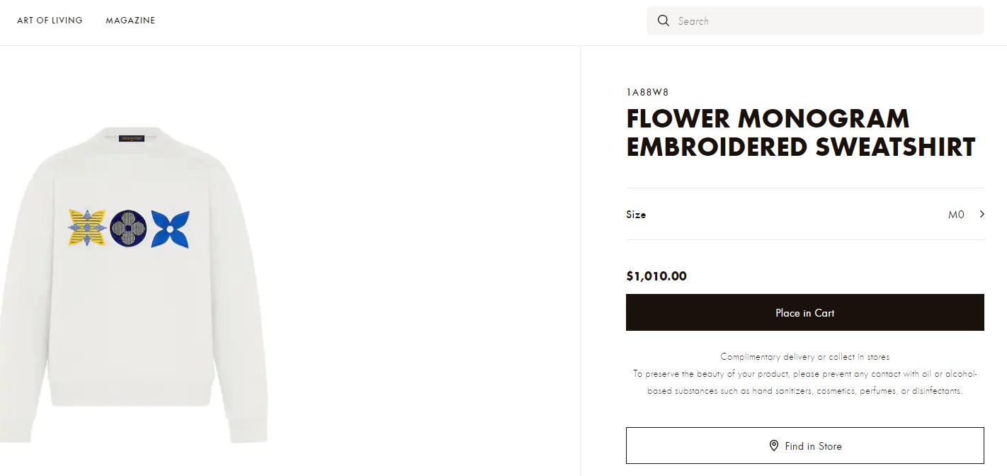 lv flower monogram embroidered sweatshirt lv sweashirt  2